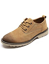 Mens Suede Leather Oxfords Shoes Casual Comfortable Classic Oxford Shoes Brown