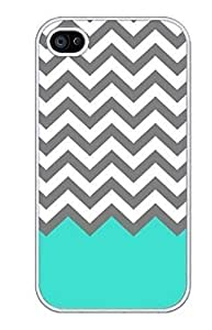 EVERMARKET(TM) iPhone 6 Plus (5.5) case-Chevron Pattern Turquoise Grey White Plastic Case for iphone 6 plus (5.5)