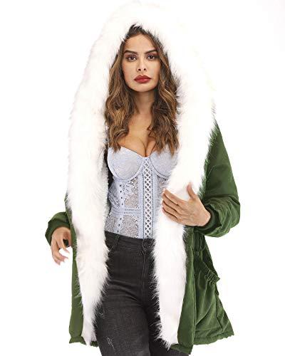 0e0df1a6f33 Roiii Women Thicken Warm Winter Coat Hood Parka Overcoat Long Jacket  Outwear Green - Buy Online in UAE.