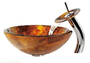 Kraus C-GV-421-19mm-10CH Amber Vessel Sink and Waterfall Faucet, Chrome