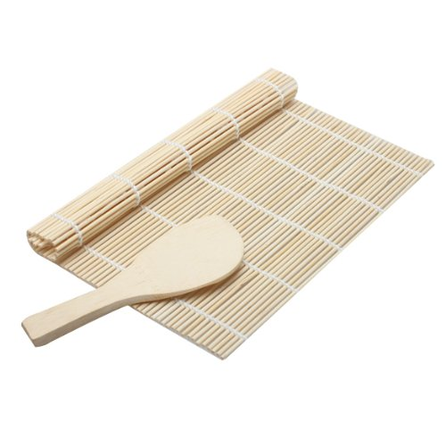 (Sushi - Cooking Sushi Rolling Roller Bamboo Material Mat Maker Diy And A Rice Paddle - Art Dipping Hug Ornament Card Seaweed Case Beyond Tote Hand)