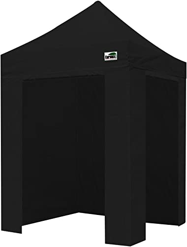 Eurmax 5 X 5 Pop up 4 Wall Canopy Photo Booth Instant Canopies with 4 Side Walls and Carry Bag Black