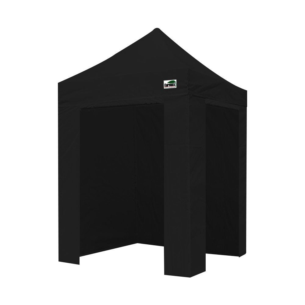 Eurmax 5×5 Ez Pop up Canopy Photo Booth Tent Instant Canopies with 4 Removable Zipper End Side Walls with Deluxe Carry Bag Black