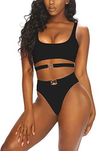 (LaSuiveur Women's Backless Tank Top 2 Piece Bathing Suits Padding Bikini Black S)