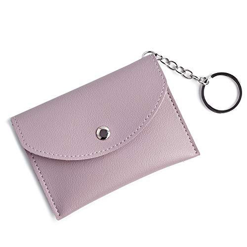 Mini Coin Purse w/Key Ring Zip ID Card Case Women PU Purple Leather Wallet