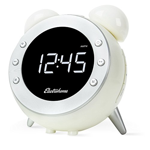 Electrohome Retro Alarm Clock Radio with Motion Activated Night Light and Snooze, Digital AM/FM Radio, Wake-up Light, Dual Alarm, Auto Time Set, Battery Backup, Dimmer, and Temperature Display (CR35W) by Electrohome