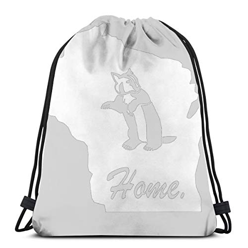 (Wisconsin Badger Home State Edition 3D Print Drawstring Backpack Rucksack Shoulder Bags Gym Bag For Adult 16.9