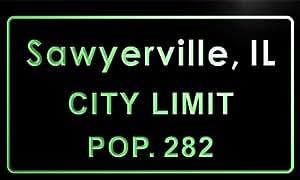 t85136-g Sawyerville village, IL City Limit Pop 282 Indoor Neon sign