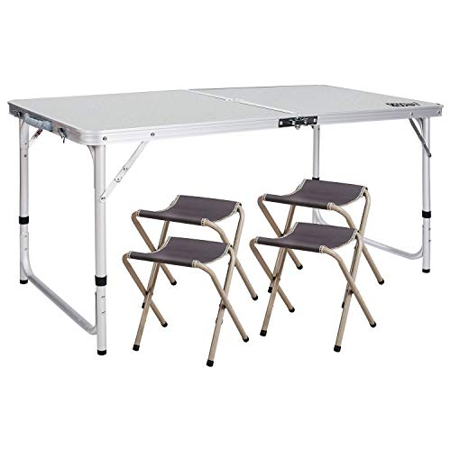 REDCAMP Outdoor Picnic Table Adjustable, Folding Camping Table with 4 Chairs, Aluminum White 47.2″x23.6″x27″ (Renewed)