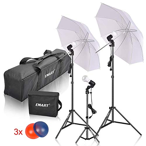 Studio Lighting Umbrella Light - Emart Studio LED Photography Umbrella Lighting Kit, 500W 5500K LED Photo Lights for Camera Lighting, Continuous Lighting, Portrait Video Shooting - Umbrella Reflector Light