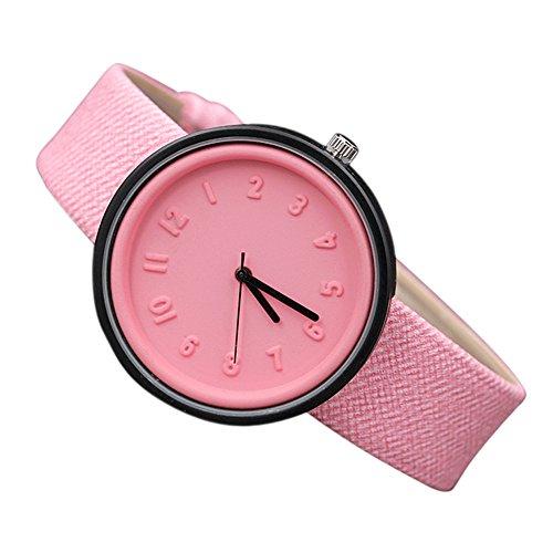 Women Watch Fashion Simple Arab Number Scale Easy Read Quartz Canvas Belt Wristwatch (Pink)