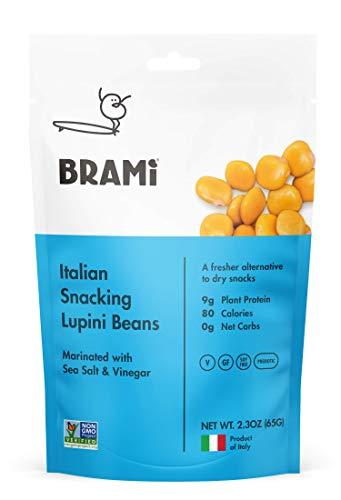 BRAMI Lupini Beans Snack, Sea Salt & Vinegar | 9g Plant Protein, 0g Net Carbs | Vegan, Vegetarian, Keto, Mediterranean Diet | 2.3 oz (8 Pack) ()