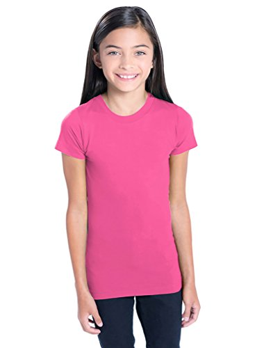 0% Cotton Fine Jersey Tee with Ribbed Collar [Medium] Hot Pink T-Shirt (Banana Fitted Jersey T-shirt)