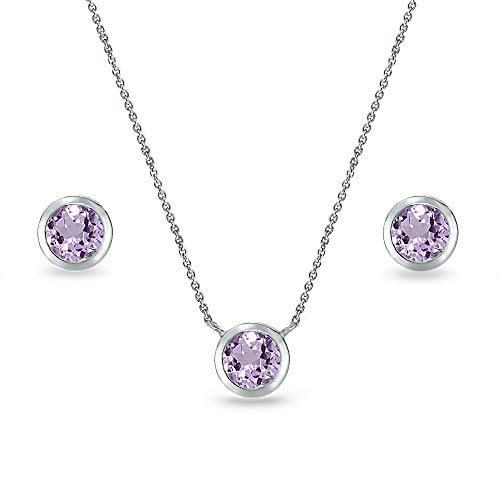 (Sterling Silver Amethyst 5mm Round Bezel-Set Solitaire Small Dainty Choker Necklace and Stud Earrings Set for Women)