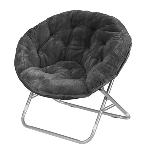 (Urban Shop Faux Fur Saucer Chair with Metal Frame, One Size, Black)