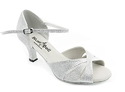 "Blue Bell Shoes Handmade Women's Ballroom Salsa Wedding Competition Dance Shoes Selene 2.5"" Heel - White"