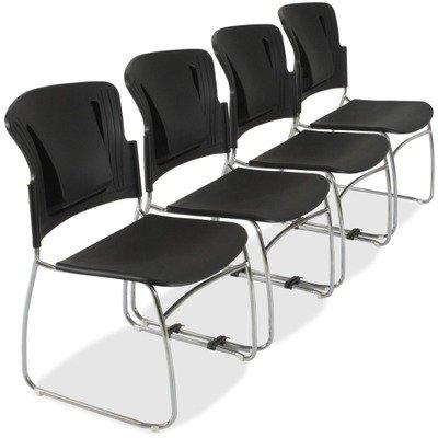 BALTamp;reg; - ReFlex Series Stacking Chair, Black, 19w x 19d x 33h - Sold As 1 Carton - Spring-backed self-adjustable lumbar panel.