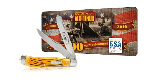 Schrade 94BRBSAT Old Timer Gunstock Trapper Knfie with Boy Scouts of America 100th Anniversary Collector's Tin,  Brown Bone Handle