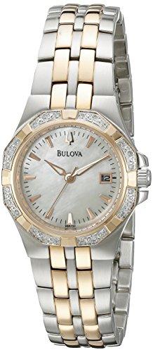 (Bulova Women's 98R133 Mother of Pearl Dial 24 Diamonds Case Bracelet Watch)