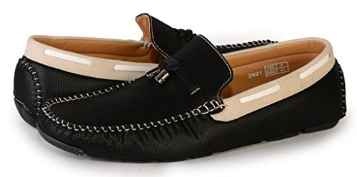 [2621-black-13] Men's Slip-On Driving Shoes: Casual Loafers Comfort Boat Shoe