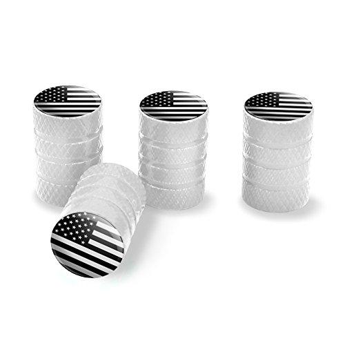 Subdued American USA Flag Black White Military Tactical Tire Rim Wheel Aluminum Valve Stem Caps - White