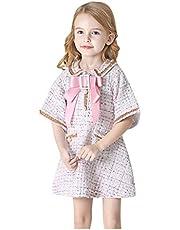 Vestidos de niñas | Niños pequeños Bebés Niñas Manga Corta Peter Pan Cuello a Cuadros Arco Princesa Vestidos 2-8 años