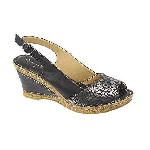 Lunar Barnes Snake Print Wedge In Black And Beige 3,4,5,6,7,8, Black