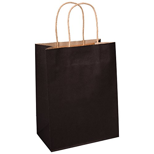 BagDream Kraft Paper Bags 8x4.25x10.5 Inches 100Pcs Gift Bags Party Bags Shopping Bags Kraft Bags Retail Bags Black Paper Gift Bags with Handles Bulk