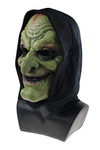 Soft Foam Black Hooded Mask Horror Evil Halloween Costume Fancy Dress Up (Green)]()