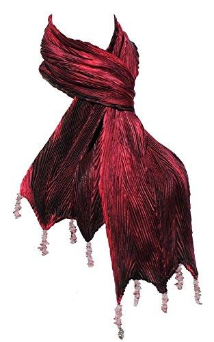 Arashi Shibori Hand Painted Silk Scarf in Shades of Red