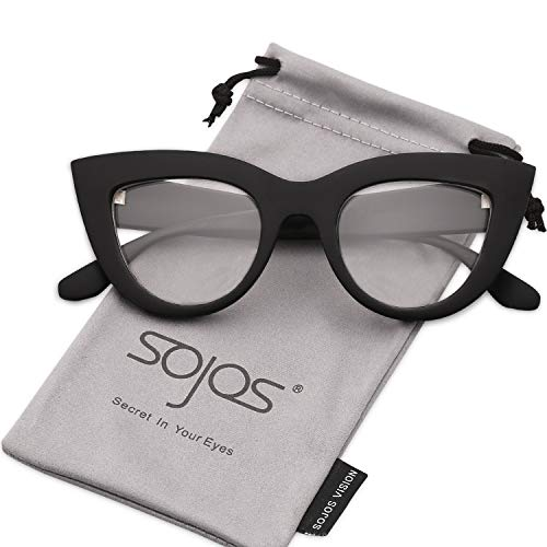 Glasses Black Frame Grey Lens - SOJOS Vintage Cateye Eyeglasses for Women Eyewear Frame Clear Lens Glasses SJ2939 with Black Frame/Clear Lens
