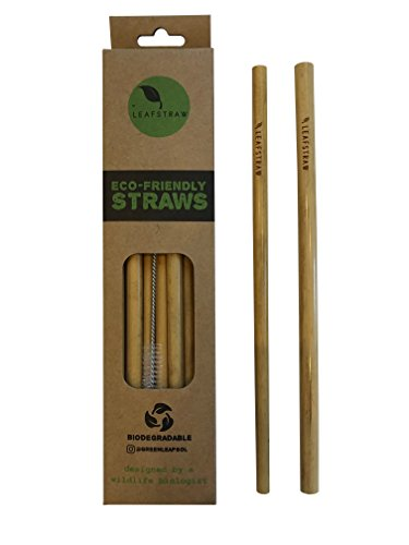 Biodegradable Bamboo Drinking Straws, Alternative To Plastic, With Cleaning Tool, Pack of 12-100% Organic, BPA Free, NON Toxic, No Inks or Dyes by Leaf Straw
