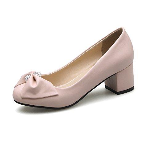 Femmes Tête Chaussures Grande Bouche Avec Peu Taille Profonde Épaisseur 35 Ronde rose Carrière De Une Simple BwEETd