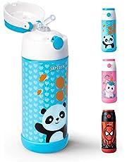 Jarlson Trinkflasche für Kinder | Innovative Thermo Edelstahl Flasche - BPA frei und auslaufsicher | Kinderflasche mit Strohhalm | perfekt für Schule, Sport, Kindergarten | 350ml