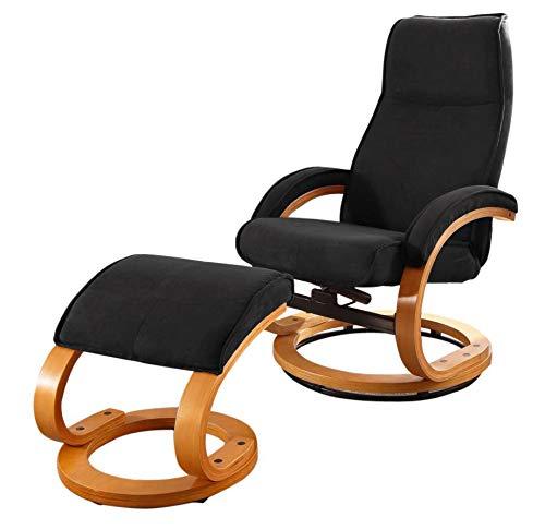 Schwarz Loft24 Pam Relaxsessel Fernsehsessel Lesesessel mit Fußhocker Sessel mit Hocker (Microfaser, Schwarz, mit Relaxfunktion)
