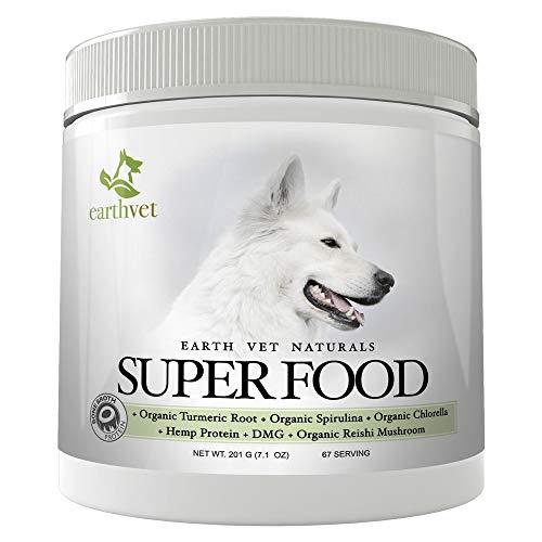 Earth Vet SUPERFOOD FOR DOGS - Contains Bone Broth, Organic Turmeric Root, Organic Spirulina, Organic Chlorella, Hemp Protein, DMG & Organic Reishi Mushroom - (67 Servings)