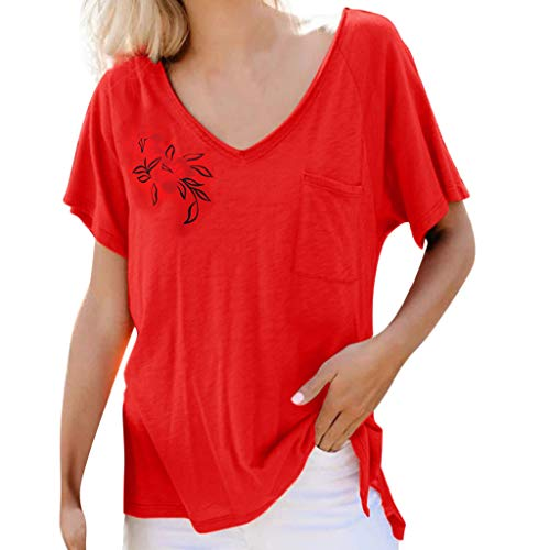 (Mebamook Women's Short Sleeve and Long Sleeve Round Neck Triple Color Block Stripe Casual Blouse Short Sleeve Casual Cold Shoulder Red)