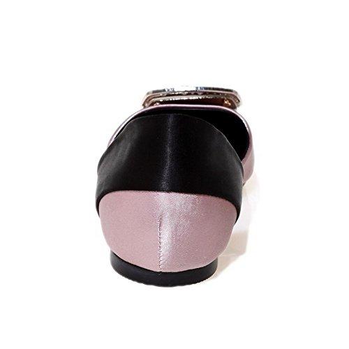 geschlossene Absatz AgooLar ohne Sandalen Anziehbare schwarz Satinfarbe Zehenpartie Damen eckige p6wYqt6