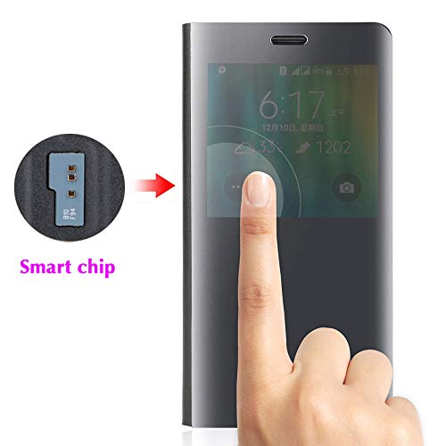 Samsung Galaxy Note 4 Flip Phone Case with Screen Protector Smart Chip 360 Clear View Slim Thin Folio Cute Mirror Cover Shockproof Hard Leather Protective Women Girls Men for Glaxay Note4 N910A Black