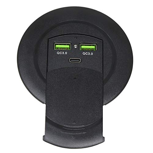 HumanCentric 96W USB Grommet Power Charger & Desktop Power Outlet | USB-C & Quick Charge USB Ports for Desks, Computers, Tables, Offices, Home, and More