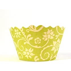 Bella Couture Hannah Floral Cupcake Wrappers, Chartreuse/Yellow