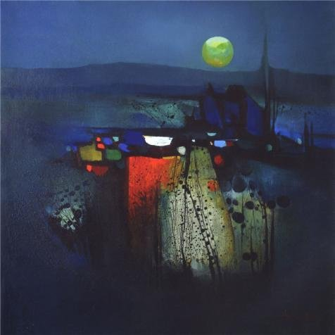 Oil Painting 'Modern Abstract Painting Of Moon Light', 12 x 12 inch / 30 x 30 cm , on High Definition HD canvas prints is for Gifts And Home Office, - Iris Sunglasses Optical