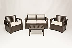 Carabelle Nevada 4 Piece All-Weather Wicker Outdoor Living Patio Lawn & Garden Furniture Conversation Set - Brown