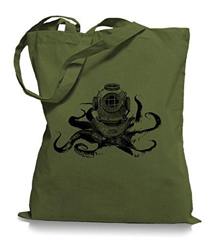 Ma2ca® Octopus Diver - Jutebeutel Stoffbeutel Tragetasche / Bag WM101 Olive Green