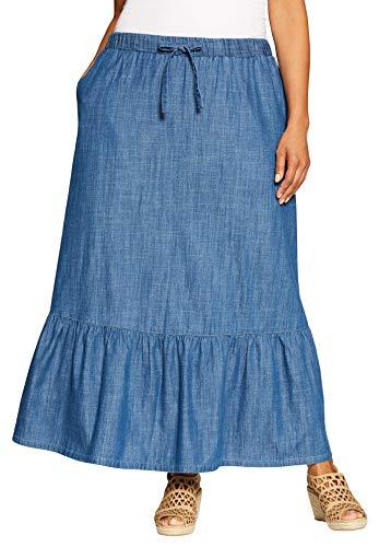 Woman Within Women's Plus Size Drawstring Chambray Skirt - Stonewash, 24 W