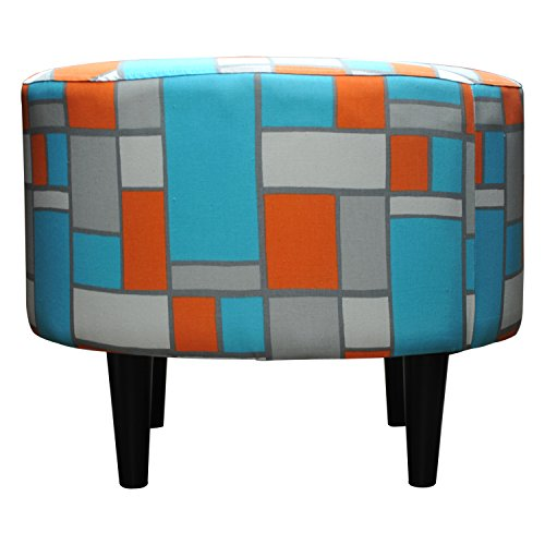 Sole Designs Abstract Square Finish Sophia Collection Round Upholstered Ottoman with Espresso Leg Finish, Blue/Orange/Grey (Sophia Sofa Collection Fabric)