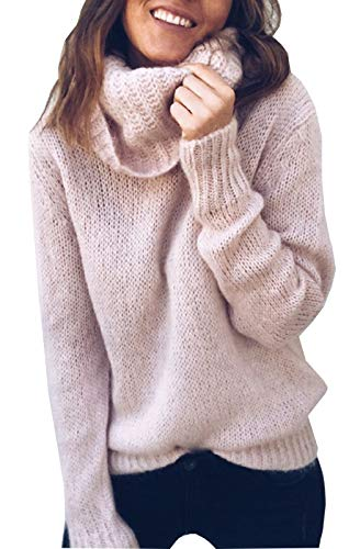 FEIYOUNG Women's Pure Color Cowl Neck Knitted Pullover Sweater Knit Jumper Top Pink