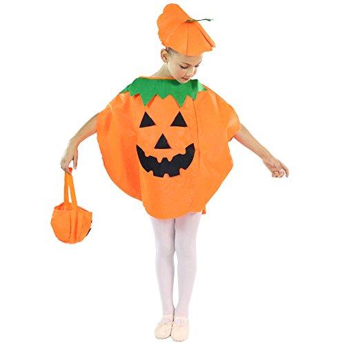 Danzcue Orange Child Halloween Pumpkin Costume Suit Party Clothing -