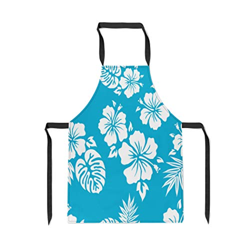 Pinbeam Apron Flower Hawaiian Aloha Pattern Surf Luau Hibiscus Hawaii with Adjustable Neck for Cooking Baking Garden