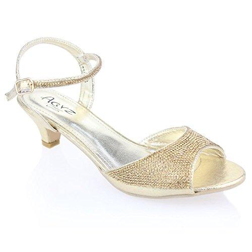 Aarz boda del partido de tarde de las mujeres de las señoras de baja Tacón bajo de aguja peep toe de Diamante de la sandalia tamaño de los zapatos (Oro, Plata, Champagne, Negro, Rosa) Oro
